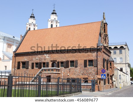 The House of Perkunas (Thunder) built in 15th century is the oldest structure in Kaunas, the second largest city in Lithuania. - stock photo