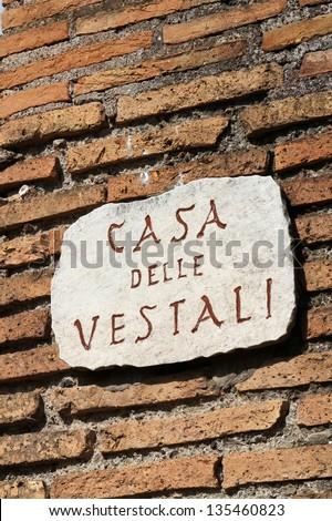 The House of the Vestal Virgins (Atrium Vestae) was the residence of Vestal Virgins, near the Temple of Vesta. - stock photo