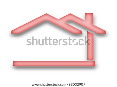 The house with a gable roof as an illustration - stock photo