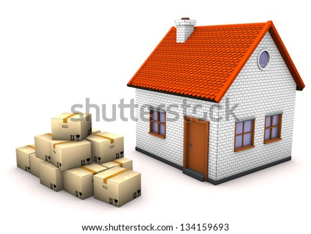 The house with moving boxes on the white background. - stock photo