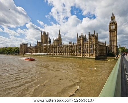 The Houses of Parliament in London, UK - daylight photo - stock photo