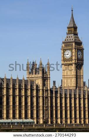 The Houses of Parliament in the City of Westminster, London. - stock photo