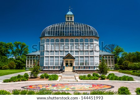 The Howard Peters Rawlings Conservatory, in Druid Hill Park, Baltimore, Maryland. - stock photo