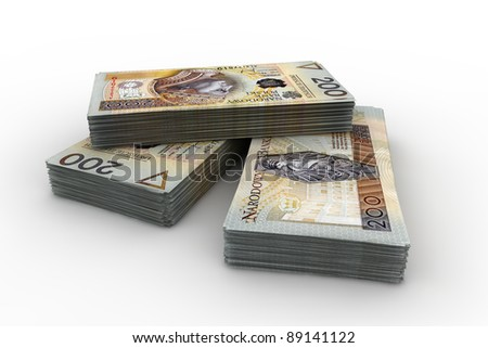 The huge amount of cash Polish - stock photo