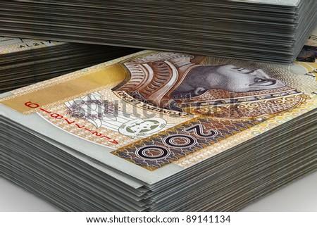 The huge amount of cash Polish - stock photo