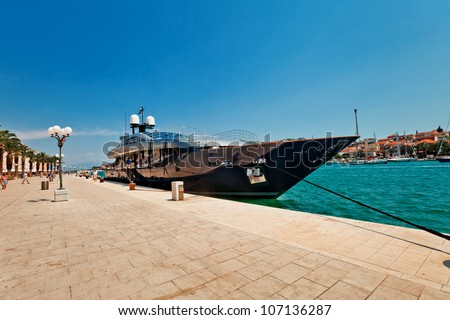 The huge  luxury yacht parked in the water of Trogir Croatia - stock photo