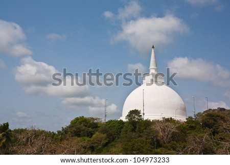 The huge white Mahaseya Stupa (Dagoba) in  Mihintale, Sri Lanka - stock photo