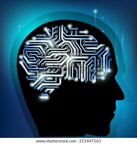the human brain as a computer chip - stock photo