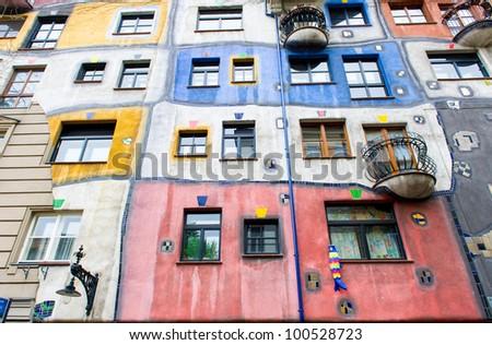 The Hundertwasser House in Vienna - stock photo