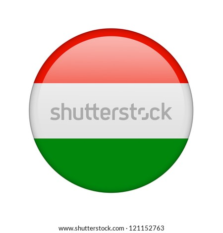 The Hungarian flag in the form of a glossy icon. - stock photo