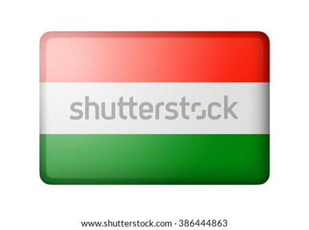 The Hungarian flag. Rectangular matte icon. Isolated on white background. - stock photo