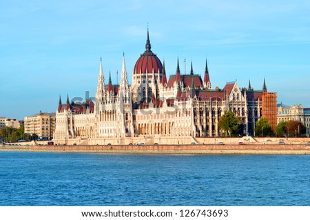The Hungarian Parliament Building is the seat of the National Assembly of Hungary, one of Europe's oldest legislative buildings - stock photo