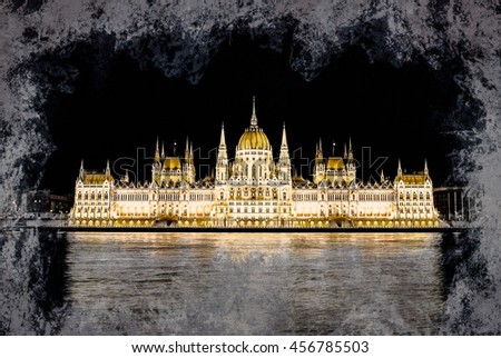 The Hungarian Parliament Building .Vintage painting, background illustration, beautiful picture, travel texture - stock photo