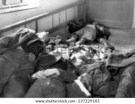 The 1956 Hungarian Uprising Bodies of some of the fifty rebels in Magyaovar Hungary. - stock photo