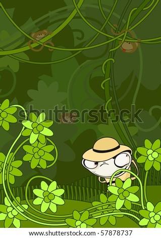 The hunter in jungle (raster version) - stock photo