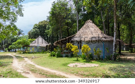 The huts in the rainforest in Thailand - stock photo