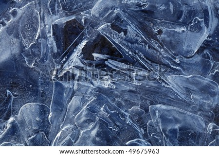 the ice, the frozen water, ice pattern - stock photo