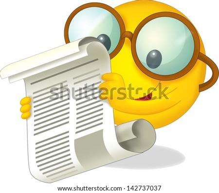 The icon of a reading sun - cartoon illustration - stock photo