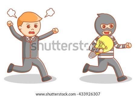 The idea burglar illustration - stock photo