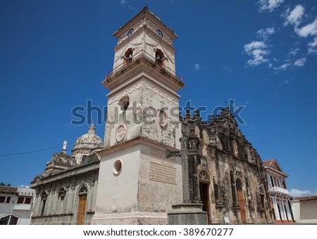 The Iglesia de La Merced Church with it's famous bell tower in Granada, Nicaragua, 5 Mar 2016 - stock photo