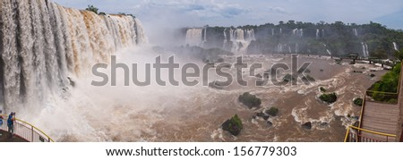 The Iguacu falls in Argentina Brazil in the middel of the rainforrest - stock photo