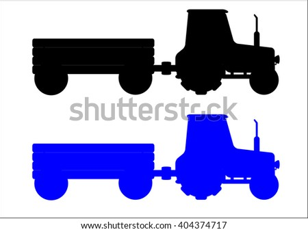 The  illustration of silhouettes of the two  modern  tractors isolated in the white background - stock photo