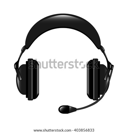 The  illustration of the modern headphone set isolated in the white backgroun, realistic version. - stock photo