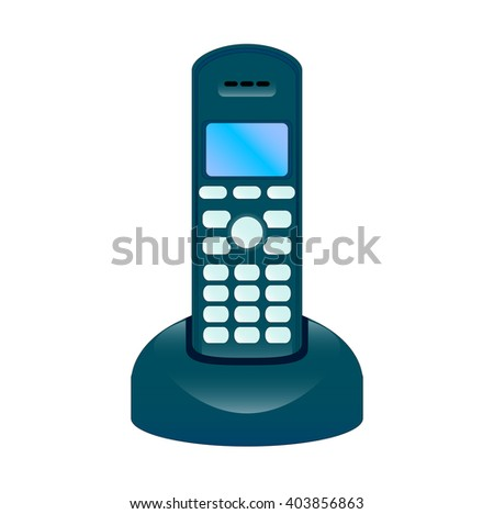 The  illustration of the modern radiophone with the base, isolated in the white background - stock photo