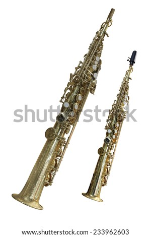 The image of a clarinet isolated under a white background - stock photo