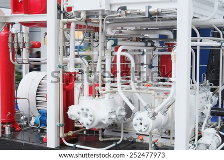 The image of a compressor station at the factory - stock photo