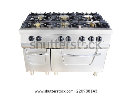 the image of a professional gas stove at restaurant - stock photo