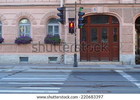 the image of a red traffic light for pedestrians - stock photo