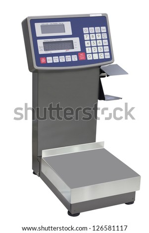 The image of a scale under the white background - stock photo