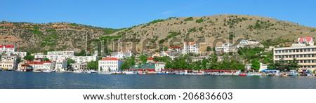 the image of BALAKLAVA, CRIMEA - june 20, 2014: : Panorama of Balaklava sea bay. - stock photo