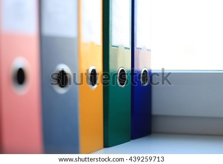 The image of colorful file folders - stock photo