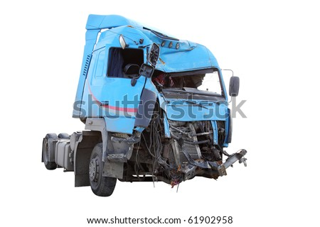 The image of crash truck under the white background - stock photo