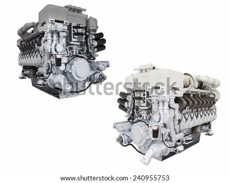 The image of engines isolated under the white background - stock photo