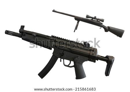 The image of machine gun under the white background - stock photo