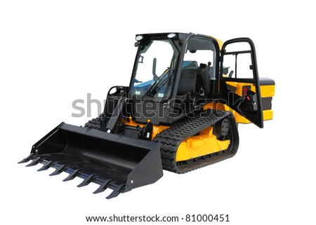 The image of mini-tractor under the white background - stock photo