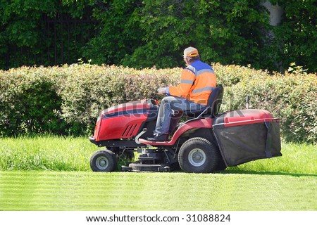 the image of mow the lawn - stock photo