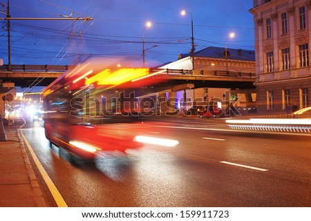 the image of night traffic           - stock photo