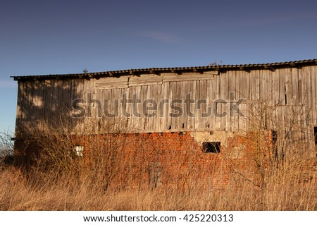 The image of old shed - stock photo