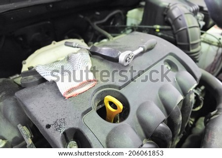the image of part of a car engine - stock photo