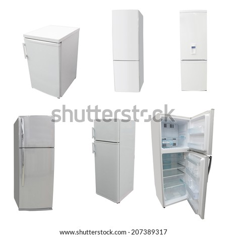 The image of refrigerators under the white background - stock photo
