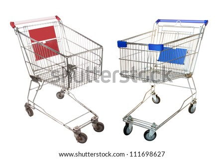 The image of shopping trolleys under the white background - stock photo