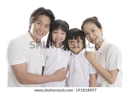 The image of smiling Korean family - stock photo