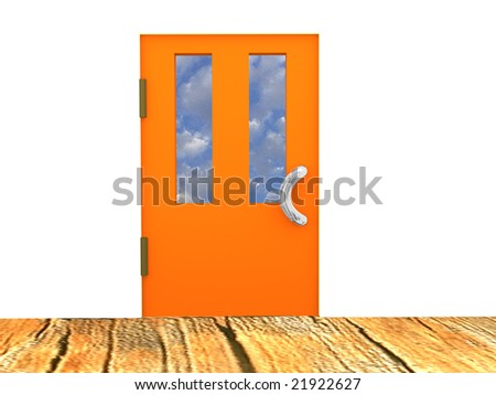 The image of the closed door behind which the sky with clouds is visible. - stock photo
