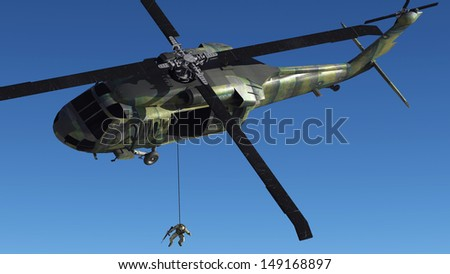 The image of the soldier near to helicopter - stock photo