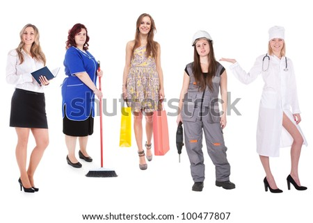 The image of women, representatives of different professions - stock photo