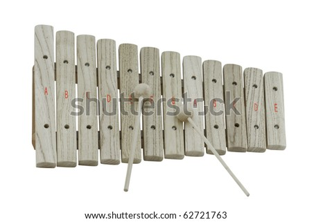 The image of wooden xylophone under the white background - stock photo